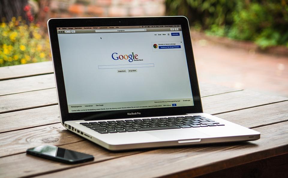 Google on laptop screen